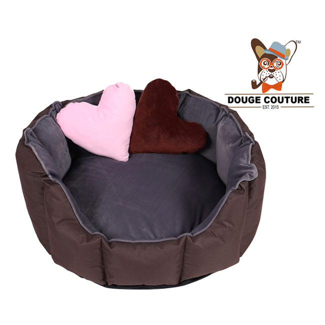 Dog Bed Ultra Soft, 2 Extra Heart Shape Pillow ( Grey & Brown)