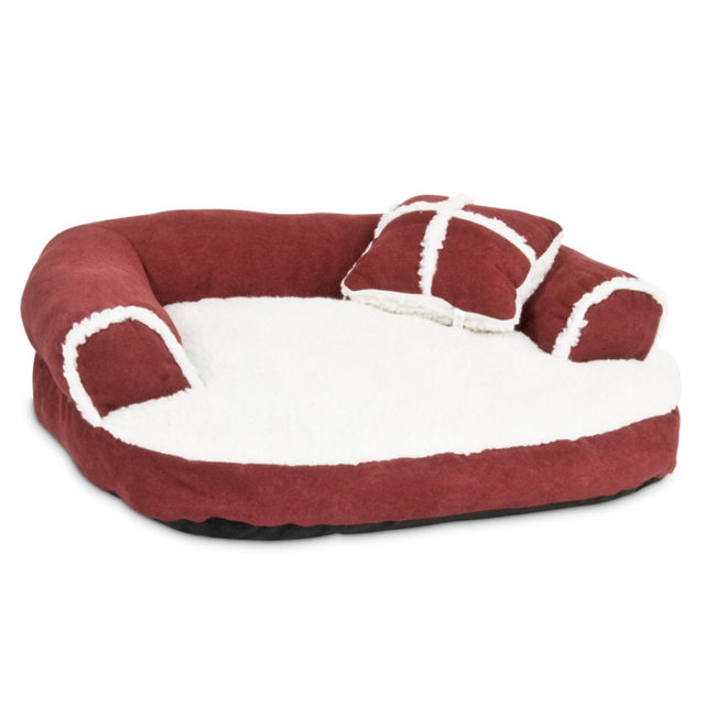 Dog Bed Soft Sofa , Off-White/wine color