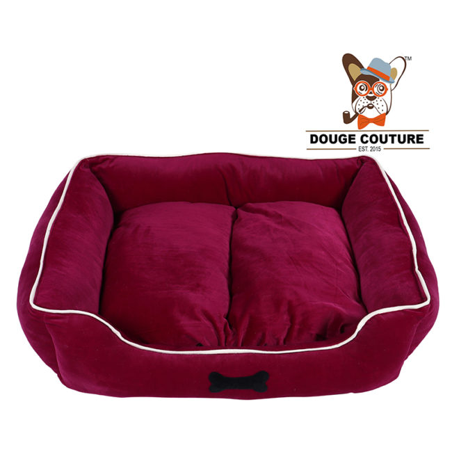 Dog Bed Super velvet Soft Cozy Maroon (Dogs/Cats)