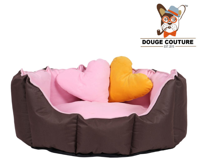 DOUGE COUTURE Dog/CAT Bed Ultra Soft Baby Pink & Brown with 2 Extra Heart Shape Pillow More Buy