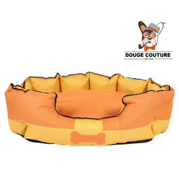 Douge Couture Anchor Soft Dog Bed Yellow and Orange Waterproof Washable Hardwearing Pet Basket Mat Cushion 1