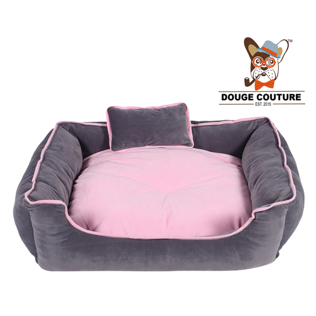 DOUGE COUTURE Pink Colour Ultra Soft Ethnic Velvet Bed for Dog and Cat with CUSSION