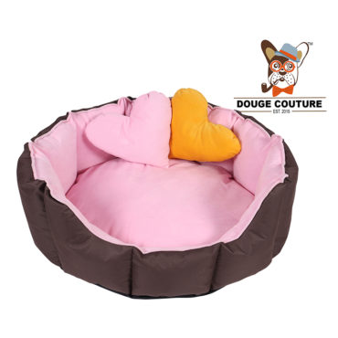 DOUGE COUTURE Dog/CAT Bed Ultra Soft Baby Pink & Brown with 2 Extra Heart Shape Pillow More Buy 1