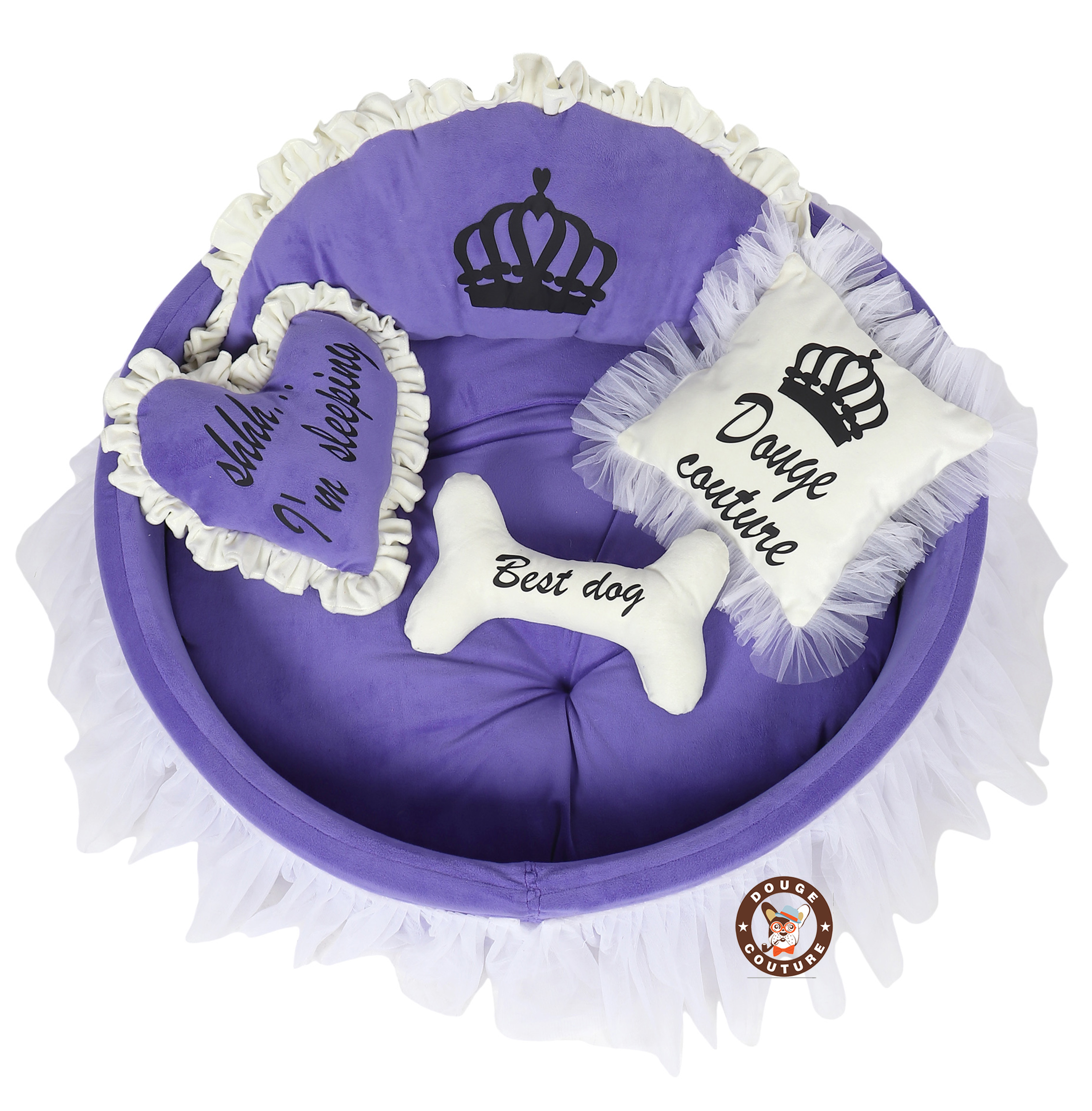 Douge Couture purple and white dog bed Personalized dog bed Designer tatted dog bed Luxury puppy bed Custom made dog bed Birthday dog gift