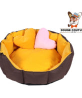 DOUGE COUTURE Dog/CAT Bed Ultra Soft Yellow & Brown with 2 Extra Heart Shape Pillow