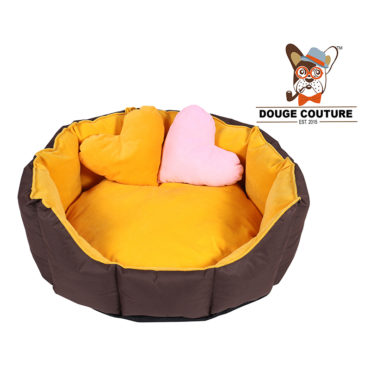 DOUGE COUTURE Dog/CAT Bed Ultra Soft Yellow & Brown with 2 Extra Heart Shape Pillow 1